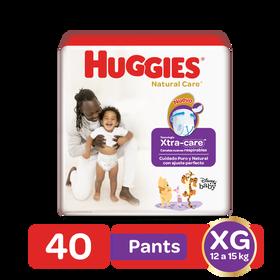 Pantaloncitos Huggies Natural Care Talla XG, 40 uds