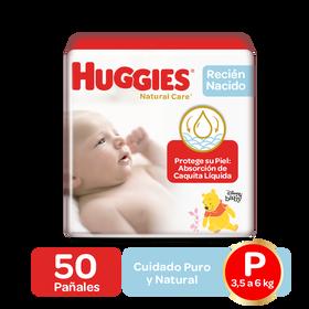 Pañales Huggies Natural Care Talla P, 50uds