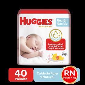 Pañales Huggies Natural Care Talla RN, 40uds