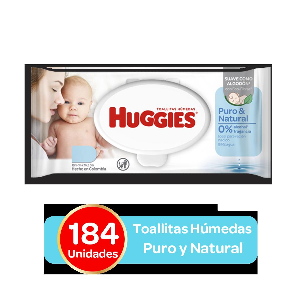 Toallitas Humedas Huggies Puro y Natural, 184uds
